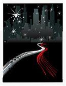 VECTOR ciudad por la noche con el tráfico de la autopista