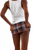stock photo of upskirt  - Upskirt image of a skinny African - JPG