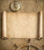 old blank nautical map with steering wheels 3d illustration poster