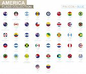 America Flags Collection. Big Set Of Blue Pin Icon With Flags. poster