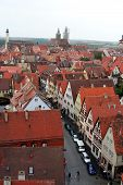 Ancient Red Roof Houses, Rothenburg Ob Der Tauber, Medieval Old Town In Germany