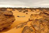 Camping In The Desert - Akakus (acacus) Mountains, Sahara, Libya