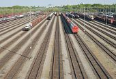 pic of railroad yard  - Railroad Yard Terminal with New Automobiles for Export - JPG