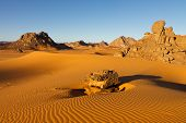 Akakus (acacus) Mountains, Sahara, Libya At Sunrise