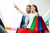 Its Shopping And Fun  Time. Cheerful  Successful Cute Happy Young Lovely Couple In Jacket Holding   poster