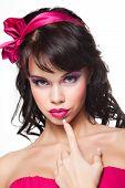 Portrait of beautiful girl in pink
