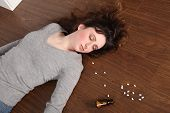 Problem Teenager Girl Takes Overdose Of Pills