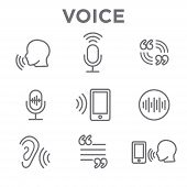 Voiceover Or Voice Command Icon With Sound Wave Images poster