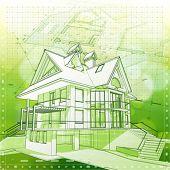 Projeto de arquitetura de ecologia: casa, planos & verde fundo de bokeh - ilustração vetorial. EPS 10