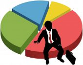 Business person silhouette owns market share success sitting on financial data pie chart