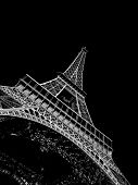 Black and white View of the Eiffel tower in Paris. Paris beautiful destinations in Europe poster