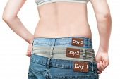 Young woman monitoring daily weight loss