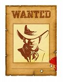 Wanted Poster Background With Portrait Of Bandit For Design On White