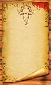 Cowboy Old Paper Background For Text With Bull Skull .