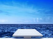 white springboard on sea background