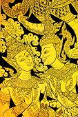 Thai Mural On A Wall Of Temple,hero and heroine