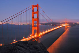 picture of golden gate bridge  - view of golden gate bridge at night from the marin headlands - JPG