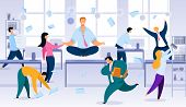 Keeping Calm And Balance In Office Work Chaos Flat Vector Concept. Smiling Office Worker, Company Em poster