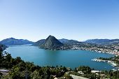 Lake Lugano, panoramic view from the top, switzerland