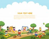 Happy Excited Kids Having Fun Together On Playground. Children Play Outside. Vector Illustration.tem poster