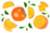 Persimmon Fruit Isolated On White Background. Top View. Flat Lay Pattern poster