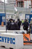 NEW YORK - MAY 2: Port Authority Police stand guard near the World Trade Center PATH train station o
