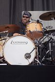 CLARK, NJ - SEPT 17: Drummer Rick Fedyk performs with The Paul Rodgers Band at the Union County Music Fest on September 17, 2011 in Clark, NJ.