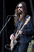 CLARK, NJ - SEPT 17: Bass player for Nicole Atkins & The Black Sea, Jeremy Kay, performs at the Union County Music Fest on September 17, 2011 in Clark, NJ.