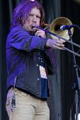 CLARK, NJ - SEPT 18:  Trombonist for Southside Johnny & The Asbury Jukes performs at the Union County Music Fest on September 18, 2011 in Clark, NJ.