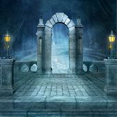 Mysterious Old Gate In A Dark Forest - 3d Illustration poster
