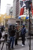 NEW YORK - NOV 17: Hip-hop mogul Russell Simmons gives a television news interview on the 'Day of Disruption' outside of Zuccotti Park on November 17, 2011 in New York City, NY.