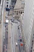 NEW YORK - NOV 17: An aerial view of Broad Street and the entrance to the NY Stock Exchange on Novem