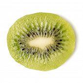 One peeled kiwi fruit slice isolated on white background closeup. Kiwifruit slice without peel,  fla poster