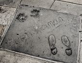 LOS ANGELES - OCTOBER 16: Hugh Jackman handprints in Hollywood Boulevard on October 16, 2011 in Los Angeles. There are nearly 200 celebrity handprints in the concrete of Chinese Theatre's forecourt