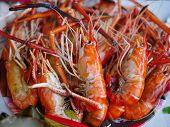 Steaming Shrimps Or Prawn On Tray For Selling At Market, Fresh Red Shrimps, Large Grilled Shrimps On poster