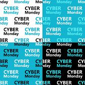 Cute Set Of Cyber Monday Sale Seamless Patterns In Contrast Colors poster