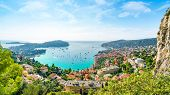 Aerial View Of French Riviera Coast With Medieval Town Villefranche Sur Mer, Nice Region, France poster