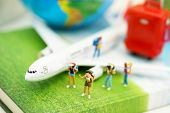Miniature People: Traveller With Backpack Walking On The Path Of Tourism By Airplane. Travel, Explor poster