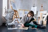 Modern Young Freelancer Artist Sculptor Woman Female Creates New Art Masterpiece Drawing Sketch At A poster