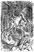 Alice is battling the Jabberwocky - Engraving by John Tenniel (United Kingdom, 1872). Illustration from the book