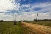 Countryside Landscape In Springtime. Sunny Day In Rural Landscape. Country Road Through Fields. Coun poster