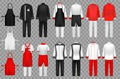 Culinary Clothing. Chef Uniform, Kitchen Textile Clothes Vector Isolated Set. Cloth For Waiter Apron poster
