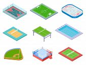 Sport Fields Isometric. Sports Playgrounds Handball Soccer Water Area Baseball Volleyball Tennis Hoc poster