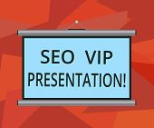 Word Writing Text Seo Vip Presentation. Business Concept For Making Presentation On How To Enhance T poster