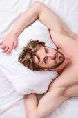 Bearded Man Sleeping Face Relaxing On Pillow. Man Handsome Guy Lay In Bed. Get Adequate And Consiste poster