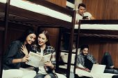 Hostel For Young People. Best Friends Traveling. Small Room In Hostel. Spend Time Together. Bunk Bed poster