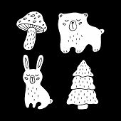 Cute Cartoon Hand Drawn Wood Animals Drawing Set. Sweet Vector Black And White Wood Animals Drawing  poster