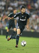 BARCELONA - SEPT. 12: Raul Albiol of Real Madrid in action during a Spanish League match against RCD Espanyol at the Estadi Cornella-El Prat on September 12, 2009 in Barcelona, Spain