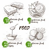 Vintage Sketch Illustration With Monochrome Vegetarian Dish On White Background. Design Template. Ve poster