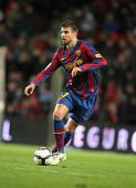 BARCELONA - NOVEMBER 7: FC Barcelona player Gerard Pique during Spanish league match between Barcelo